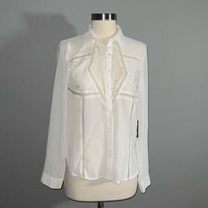 New w tags! White semi sheer and lace blouse!